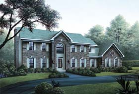 Colonial House Plan 87305 with 4 Beds, 4 Baths, 3 Car Garage Elevation