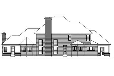 European Tudor House Plan 87307 Rear Elevation