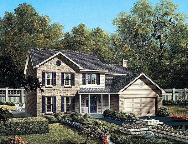 Traditional House Plan 87320 with 3 Beds, 3 Baths, 2 Car Garage Front Elevation