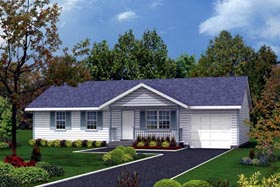 Country , Ranch , Traditional House Plan 87322 with 3 Beds, 1 Baths, 1 Car Garage Elevation