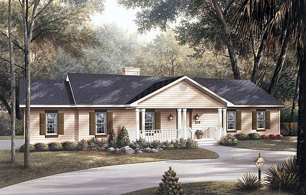 Ranch Elevation of Plan 87323