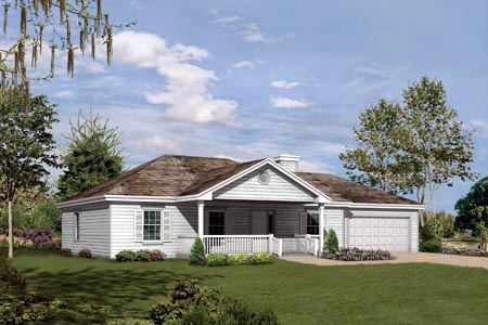 One-Story, Traditional House Plan 87327 with 3 Beds , 2 Baths , 2 Car Garage Elevation
