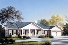 House Plan 87328 | Ranch Style Plan with 1674 Sq Ft, 3 Bedrooms, 2 Bathrooms, 2 Car Garage Elevation