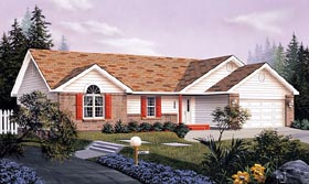 House Plan 87329   Ranch Style Plan with 1676 Sq Ft, 3 Bedrooms, 2 Bathrooms, 2 Car Garage Elevation