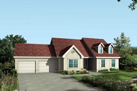 Cape Cod One-Story Elevation of Plan 87331