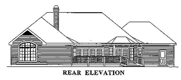 Traditional Rear Elevation of Plan 87339