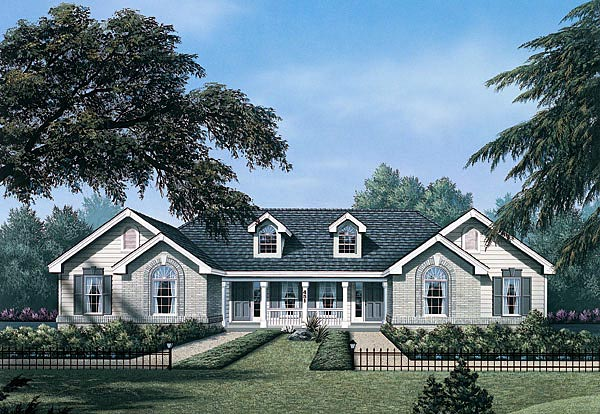 Ranch Multi-Family Plan 87346 with 4 Beds, 2 Baths, 2 Car Garage Elevation