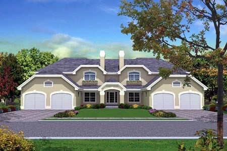 Mediterranean Multi-Family Plan 87349 Elevation