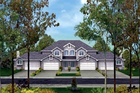 Traditional Multi-Family Plan 87350 with 3 Beds, 3 Baths, 2 Car Garage Elevation