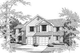 Multi-Family Plan 87351 | Traditional Style Plan with 2934 Sq Ft, 6 Bedrooms, 5 Bathrooms, 2 Car Garage Elevation