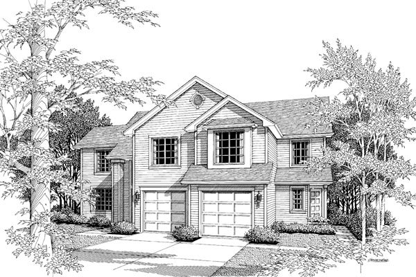 Traditional Multi-Family Plan 87351 Elevation