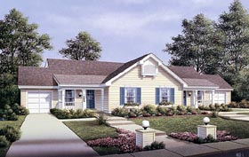 Multi-Family Plan 87353 | Country Style Plan with 1704 Sq Ft, 4 Bedrooms, 2 Bathrooms, 2 Car Garage Elevation