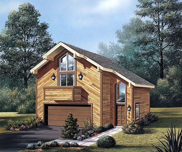 Contemporary, Narrow Lot 2 Car Garage Apartment Plan 87354 with 1 Beds, 1 Baths Elevation