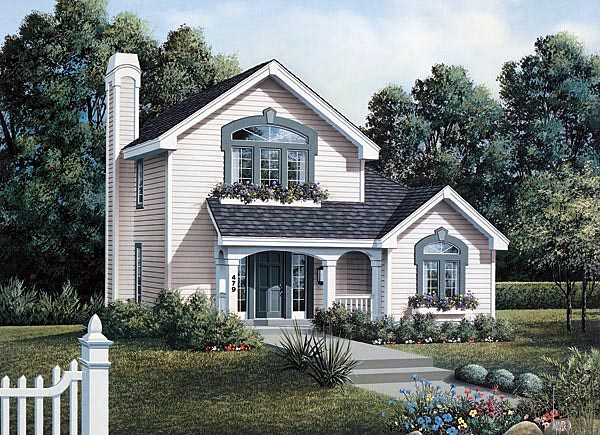 Country, Narrow Lot House Plan 87358 with 2 Beds, 1 Baths, 1 Car Garage Elevation