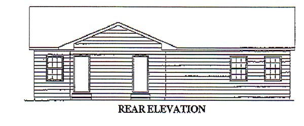Ranch Rear Elevation of Plan 87365