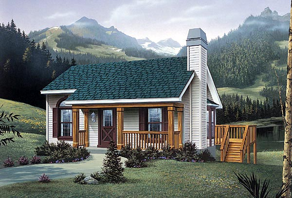 Narrow Lot, One-Story, Traditional House Plan 87371 with 2 Beds, 1 Baths Elevation