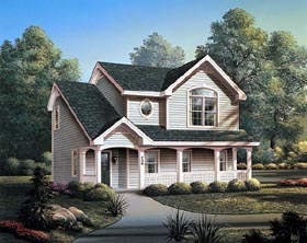Country 2 Car Garage Apartment Plan 87382 with 2 Beds, 1 Baths Elevation
