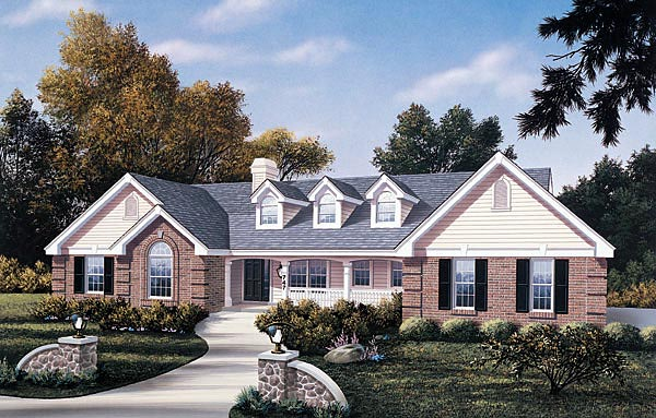 Traditional House Plan 87386 with 4 Beds, 3 Baths, 2 Car Garage Elevation