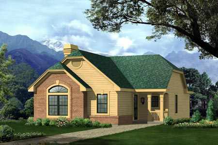 Narrow Lot, One-Story, Traditional House Plan 87391 with 2 Beds, 1 Baths Elevation