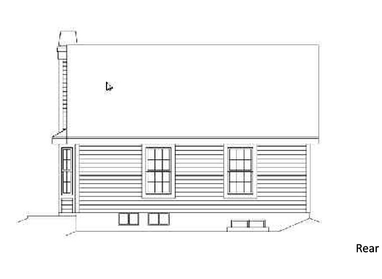 Country Rear Elevation of Plan 87392
