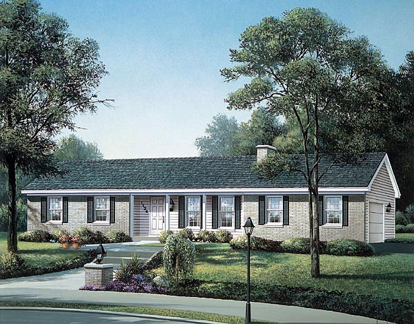 Ranch House Plan 87394 with 3 Beds, 2 Baths, 2 Car Garage Elevation
