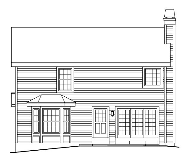 Country Southern Traditional Rear Elevation of Plan 87397