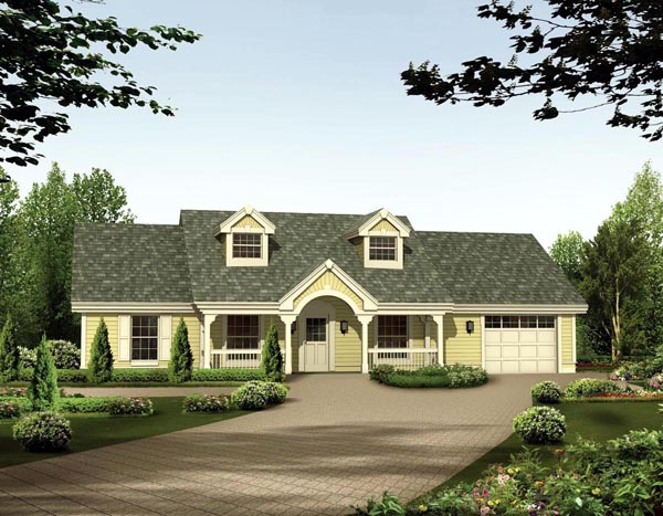 Cape Cod , Country , Ranch , Elevation of Plan 87398