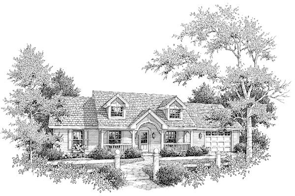 Cape Cod, Country, Ranch House Plan 87398 with 3 Beds, 2 Baths, 1 Car Garage Picture 2