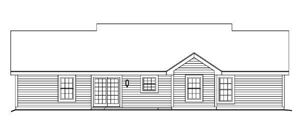 Cape Cod , Country , Ranch , Rear Elevation of Plan 87398