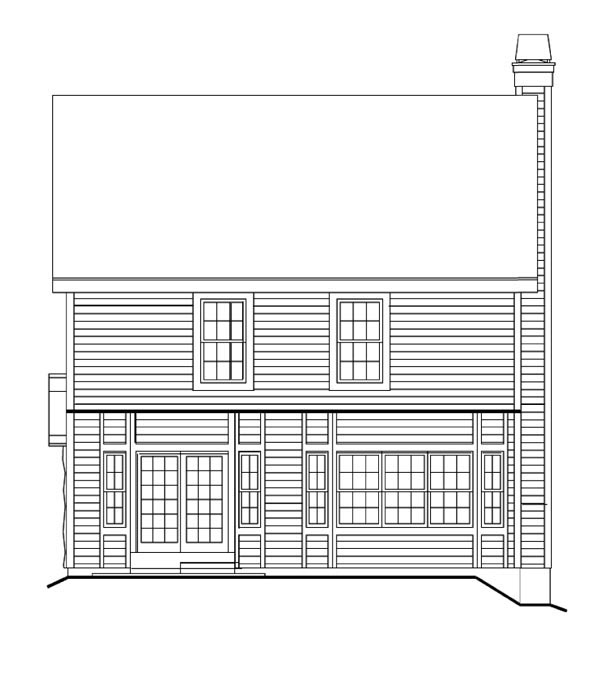 Country, Traditional House Plan 87399 with 3 Beds, 3 Baths, 2 Car Garage Rear Elevation