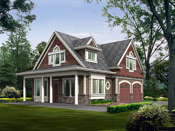 House Plan 87406 | Cottage, Country Style House Plan with 1295 Sq Ft, 2 Bed, 2 Bath, 2 Car Garage Elevation