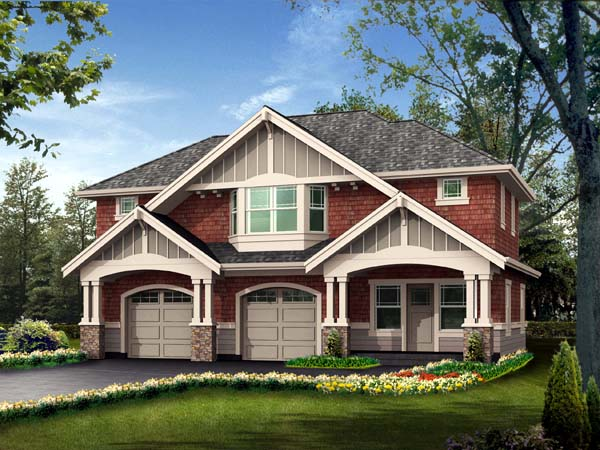 Craftsman 2 Car Garage Apartment Plan 87407 Elevation
