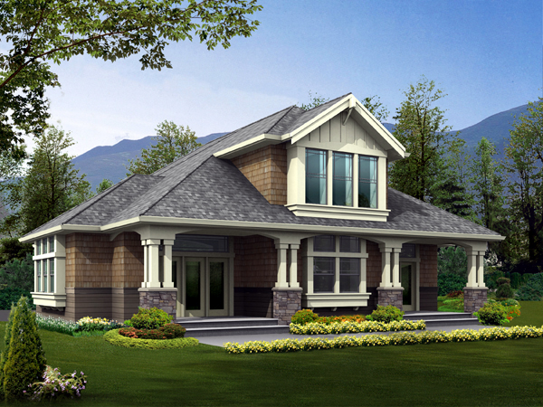 Craftsman 2 Car Garage Plan 87408 with 1 Beds, 1 Baths, RV Storage Elevation
