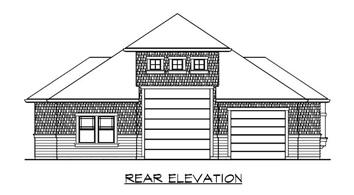 Craftsman 2 Car Garage Plan 87408 with 1 Beds, 1 Baths, RV Storage Rear Elevation