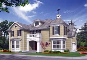 Colonial House Plan 87410 with 3 Beds, 3 Baths, 2 Car Garage Elevation