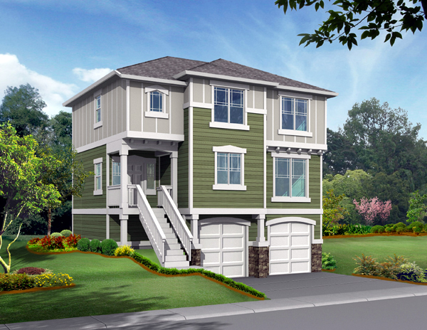 Traditional House Plan 87413 with 3 Beds, 3 Baths, 2 Car Garage Front Elevation