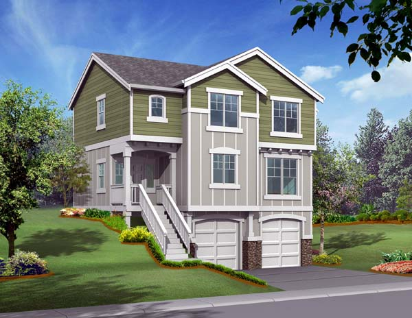 Traditional House Plan 87414 with 3 Beds, 3 Baths, 2 Car Garage Elevation