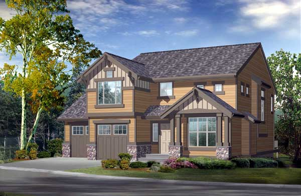 Craftsman House Plan 87415 with 2 Beds, 3 Baths, 2 Car Garage Front Elevation