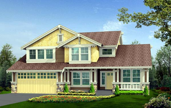Craftsman House Plan 87417 with 3 Beds, 3 Baths, 2 Car Garage Elevation