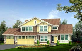 House Plan 87418 | Craftsman Style House Plan with 2250 Sq Ft, 3 Bed, 3 Bath, 3 Car Garage Elevation