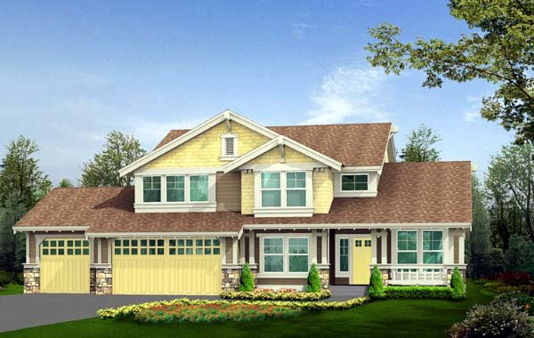 Craftsman House Plan 87418 with 3 Beds, 3 Baths, 3 Car Garage Front Elevation