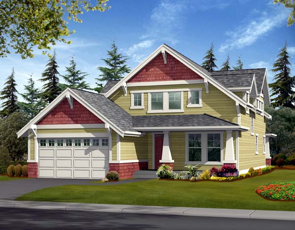 Country Craftsman Elevation of Plan 87419