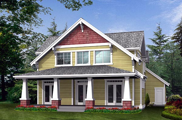 Country Craftsman Rear Elevation of Plan 87419