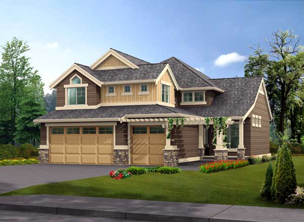 Country, Craftsman House Plan 87420 with 4 Beds, 3 Baths, 3 Car Garage Front Elevation