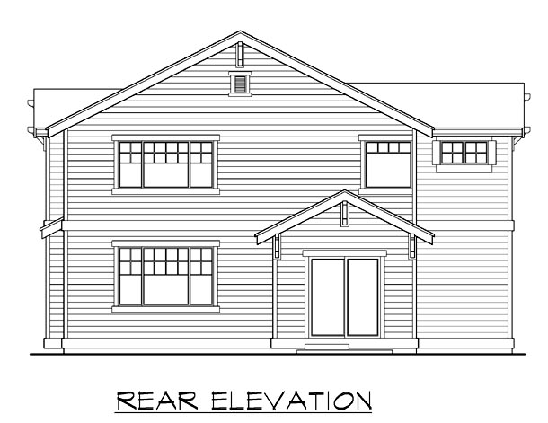 Country Craftsman Rear Elevation of Plan 87421