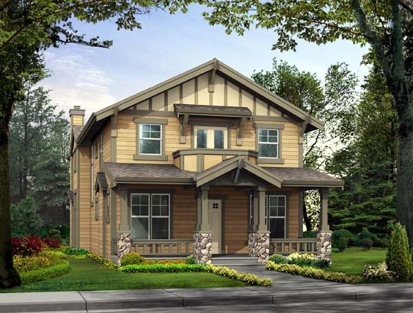 Craftsman, Narrow Lot House Plan 87424 with 3 Beds, 3 Baths, 3 Car Garage Elevation