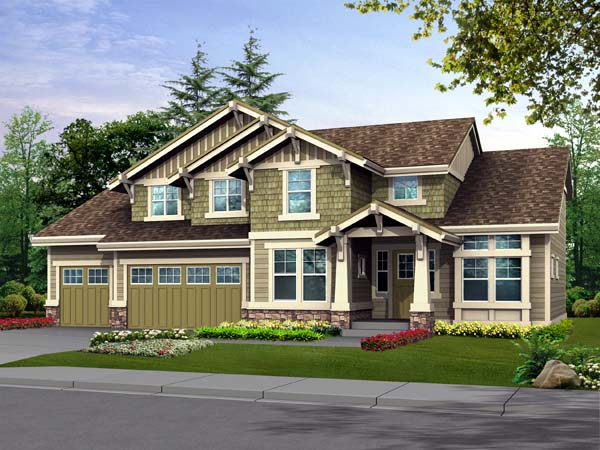 Craftsman House Plan 87432 with 3 Beds, 3 Baths, 2 Car Garage Elevation