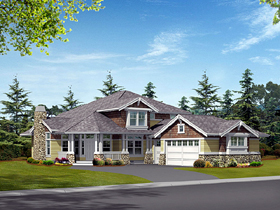 Craftsman House Plan 87445 with 3 Beds, 3 Baths, 3 Car Garage Elevation