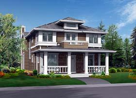 Craftsman House Plan 87447 with 3 Beds, 3 Baths, 3 Car Garage Elevation