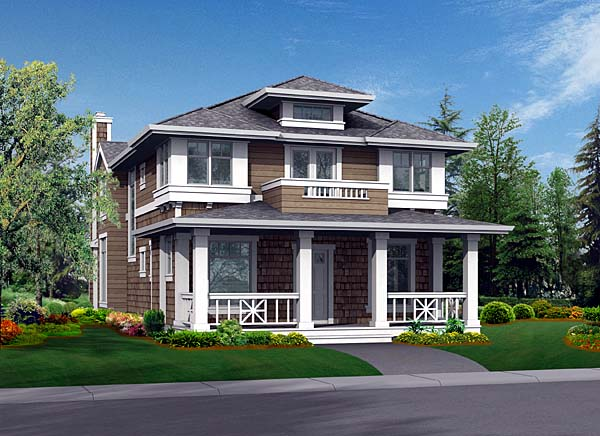 Craftsman, Narrow Lot House Plan 87447 with 3 Beds, 3 Baths, 3 Car Garage Front Elevation